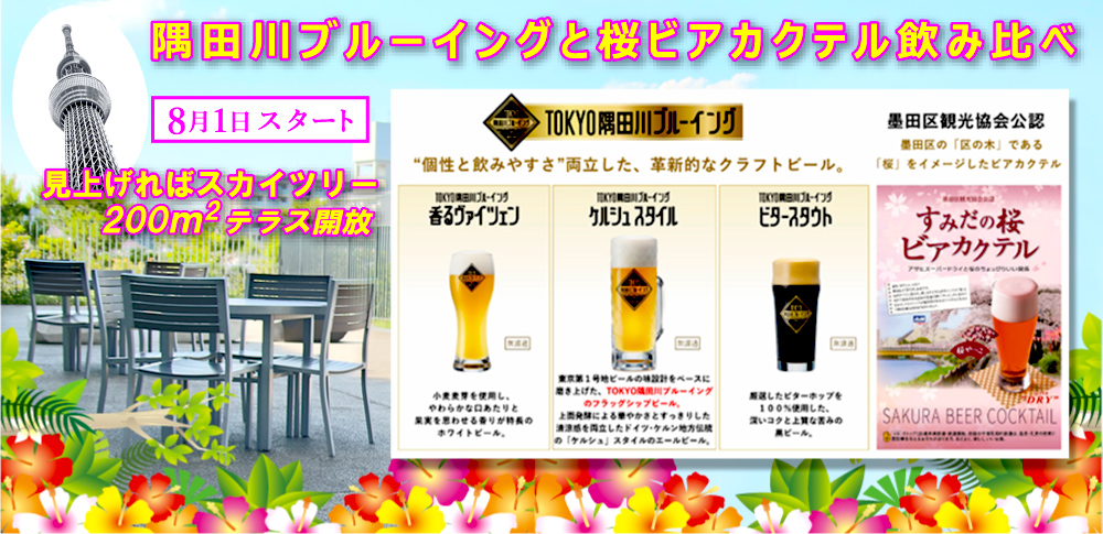 隅田川ブルーイングと桜ビアカクテル飲み比べ